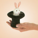 Miniature Stuffed Bunny In A Black Hat